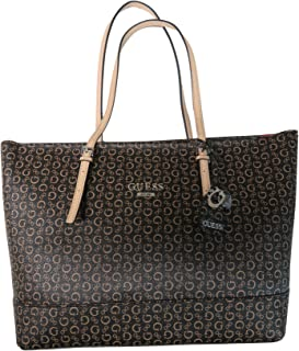 Guess Women's Purse Handbag Decimals Tote Brown Natural