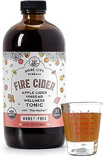 Fire Cider, Tonic, 16 oz with shot glass, Honey-Free flavor, 32 Daily Shots, Apple Cider Vinegar, Vegan, Whole, Raw, Organ...