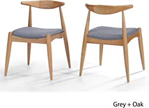 Christopher Knight Home Francie Grey Fabric With Oak Finish Dining Chairs (Set Of 2), Grey And Oak