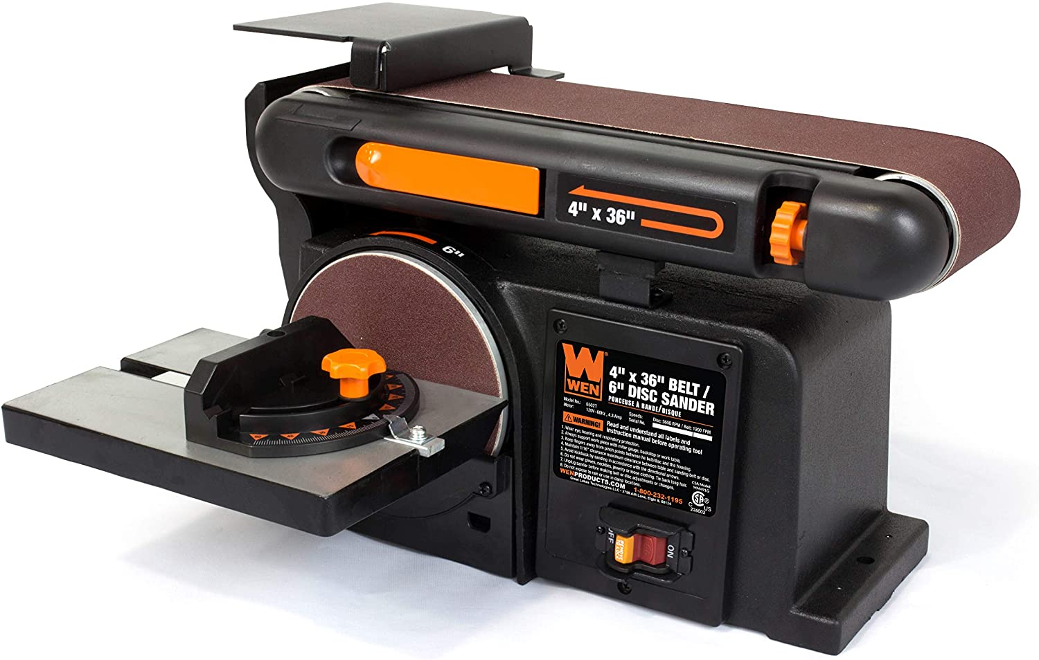 WEN 6502T Bench Belt and Disc Sander with Cast Iron Base