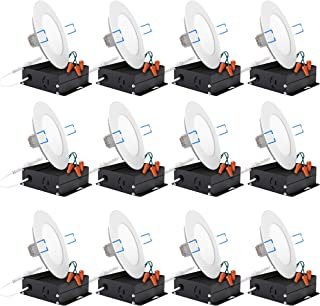 Sunco Lighting 12 Pack 4 Inch Slim LED Downlight with Junction Box,10W=60W, 650 LM, Dimmable, 5000K Daylight, Recessed Jbox Fixture, Simple Retrofit Installation - ETL & Energy Star