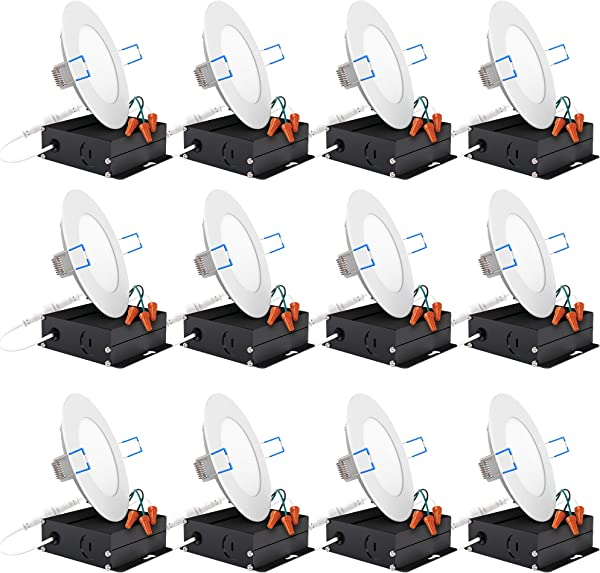 Sunco Lighting 12 Pack 4 Inch Slim LED Downlight With Junction Box 10W 60W 650 LM Dimmable 3000K Warm White Recessed Jbox Fixture Simple Retrofit Installation ETL Energy Star