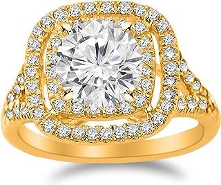 2.6 Carat Cushion Double Row Halo Split Shank Diamond Engagement Ring with a 2 Carat Moissanite Center