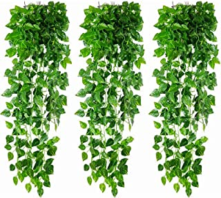 Yesland 24 Pack 156 feet Foliage Garland Leaves & Artificial Ivy Vine Hanging Plant, Decoration Scindapsus Leaves Plants f...