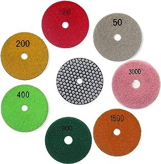 Easy Light Premium Grade 4 Inch Diamond Dry Polishing Pads Tools for Sanding Marble Granite Stone Pack of 7 Grit 50-3000