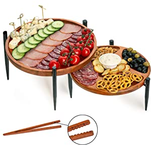 CanadaSter Set of 2 Acacia Wooden Serving Trays with Black Metal Crown Cupcake and Cake Stand - Round Decorative Platters for Cheese Fruits Crackers - Serving Display Riser Stands with Wood Tong