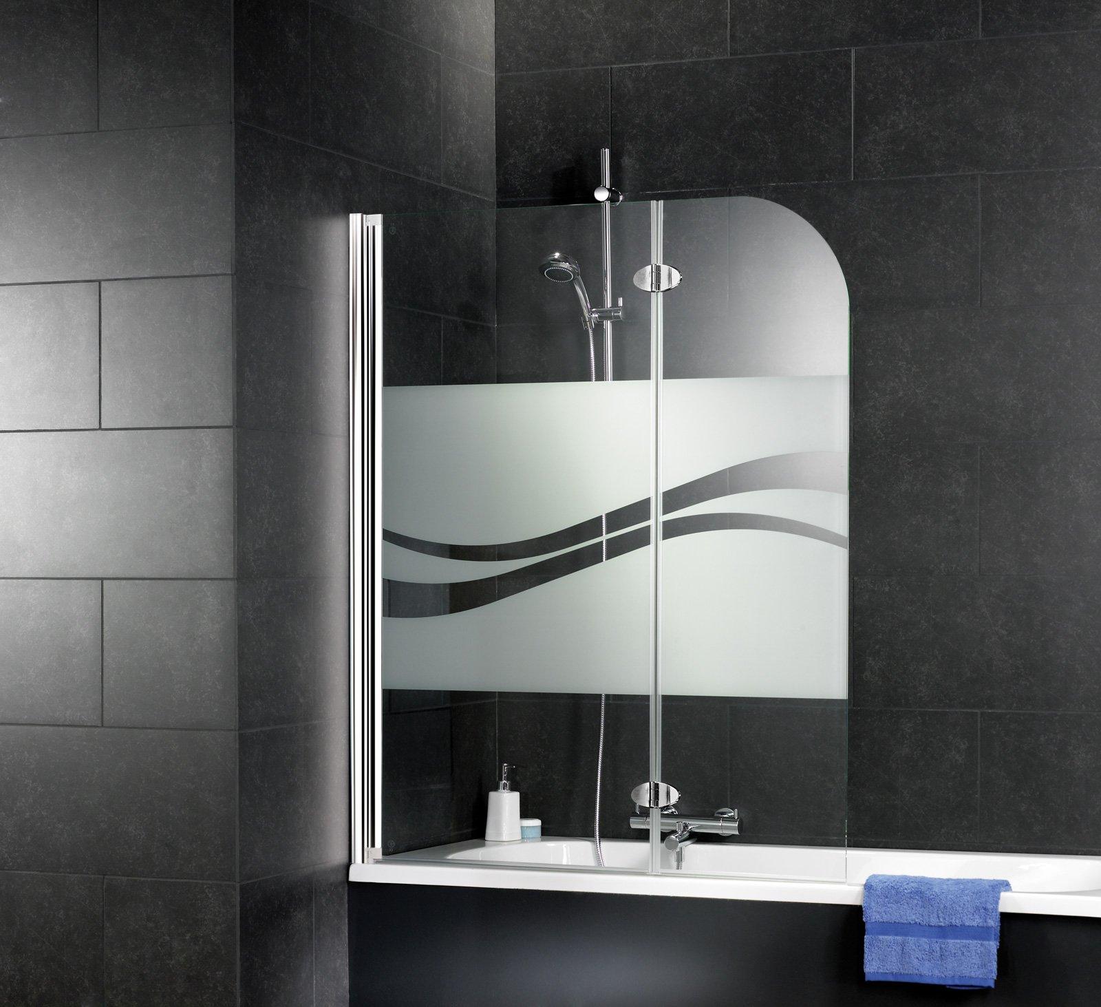 Schulte Mampara para bañera, abatible, mampara de bañera, plegable, 112 x 140 cm, pantalla de bañera, 2 partes giratorias, de vidrio, Decoración de Liana, perfil de aspecto cromado: Amazon.es: Bricolaje y herramientas