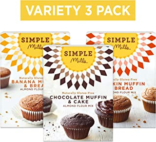 Simple Mills Almond Flour Mix Variety Pack:, (1) Banana Muffin & Bread, (1) Chocolate Muffin & Cake, (1) Pumpkin Muffin & Bread, 3 Count, Combo 1
