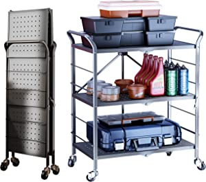 SAYZH Folding Collapsible 3 Tier Rolling Utility Tool Service Cart Metal Outdoor Bar Cart Storage Trolley with Wheels - Grey