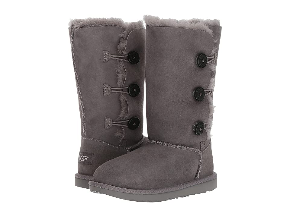 UGG Kids Bailey Button Triplet II (Little Kid/Big Kid) (Grey) Girls Shoes