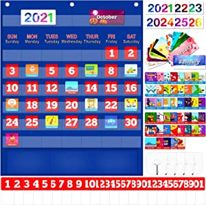 "Calendar Pocket Chart for Kids Learning Monthly Calendar for Home School Kindergarten Preschool Classroom Supplies Large 23x27.5"" with 114 Cards Homeschooling Calendar Pocket Chart"