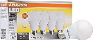 SYLVANIA General Lighting 78101 Sylvania Non-Dimmable Led Light Bulb, 14 W, 120 V, 1500 Lumens, 2700 K, Cri 80, 2.375 In Dia X 4.29 In L, Soft White, 4 Piece