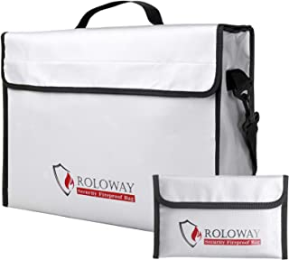 ROLOWAY Fireproof Document & Money Bags, Large Fireproof & Water Resistant Bag (16 x 12 x 5 inches), Fireproof Folder Safe...