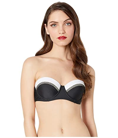 Unique Vintage Marianne Bandeau Swim Top (Black/White) Women