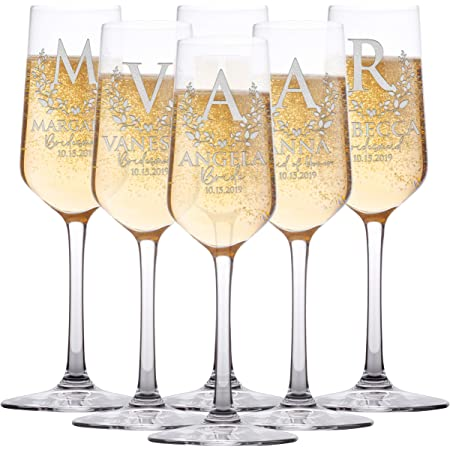 Wedding Party Gift Bubbles Stemless Champagne Flute- Party Flute- Bridesmaid Gift Bridal Shower Flute Bachelorette party flute