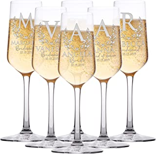 Personalized Bridesmaid Champagne Flutes, Bridal Party, Customized Gifts for Bridesmaids, Maid of Honor w Gift Box Option | 6 Piece