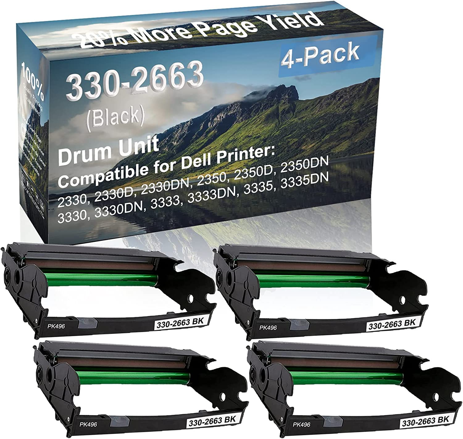 4-Pack Compatible Drum Unit (Black) Replacement for Dell 330-2663 PK496 Drum Kit use for Dell 3333, 3333DN, 3335, 3335DN Printer