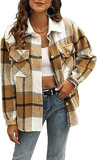 Womens Casual Plaid Wool Blend Button Down Long Sleeve...