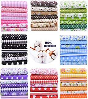 56PCS 24.5 × 25cm Printed Floral Assorted Cotton Craft Fabric Bundle Quilting Squares Patchwork for DIY Sewing Stitching 9...
