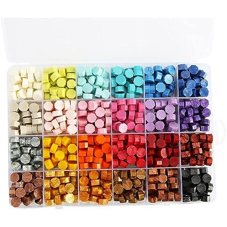 Perles De Cire à Cacheter, 600Pcs 24 Couleurs Cire à Cacheter En Boîte Rétro Pour Les Lettres D'invitation De Mariage Multicolore