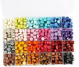 Lot de 600 perles de cire octogonales pour sceaux de cire rétro dans une boîte pour cacheter des lettres d'invitation de m...
