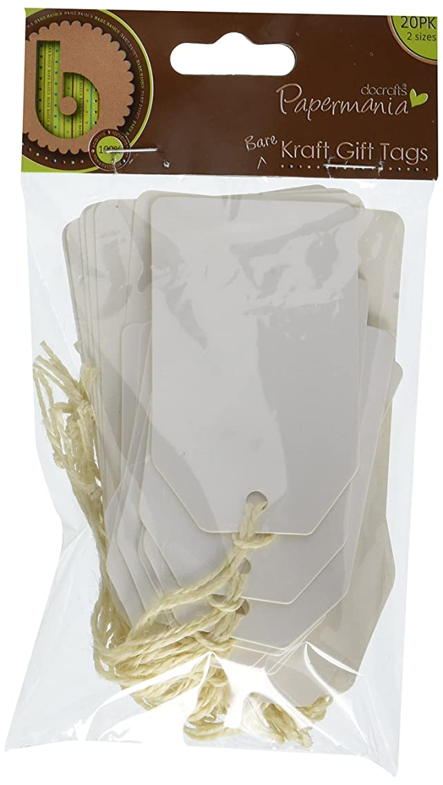 DOCrafts Papermania Bare Basics Cardstock Tags and String, White Shipping