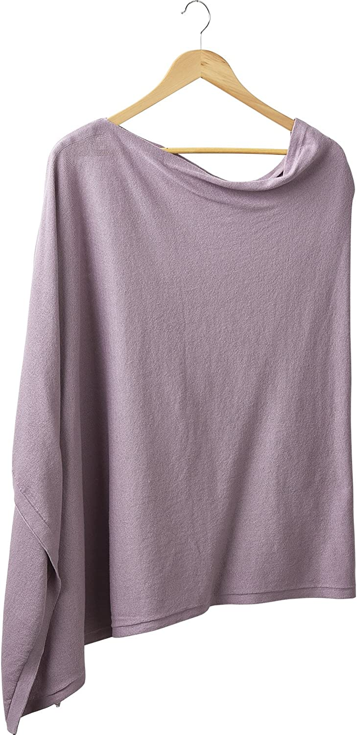 DII Tickled Pink Women's Elegent Solid Cotton Poncho, Lavender, ONE Size FITS Most