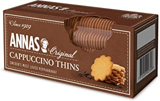 Anna's Cappuccino Thins, Traditional Swedish Pepparkaka Ginger Coffee Thin Biscuits, 150g
