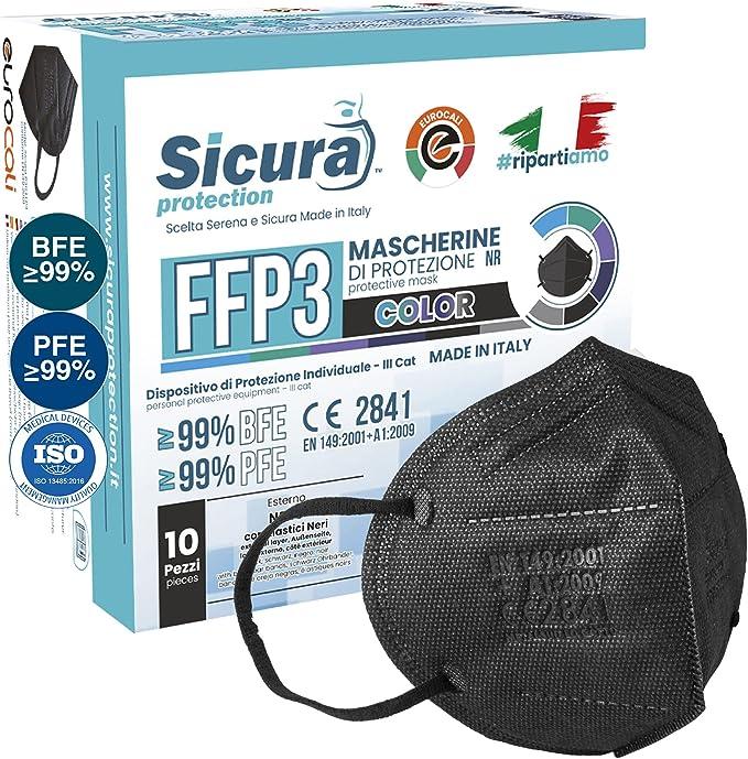 10 Mascherine FFP3 Certificate CE Nere Made in Italy e logo SICURA impresso PFE ≥99%   BFE ≥99% Mascherina ffp3 italiana SANIFICATA e sigillata singolarmente. Pluri certificata ISO 13485 e ISO 9001