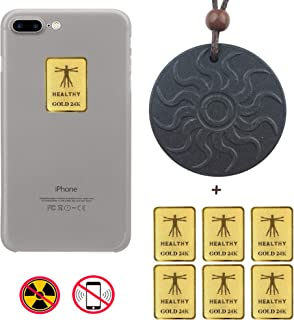 EMF Protection Black Tourmaline Pendant & 6 Pack - Anti Radiation Protection Shield Sticker for Cell Phones, Laptops – All Electronic Devices. Scalar Energy Negative ions EMR Blocker by Glenbarn