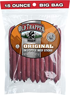 Old Trapper Original Deli Style All Beef Sticks | 15 Oz Bag