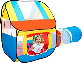 PlayO Childrens Play Tent with Crawling Tunnel and Carry Case. Popup Kids Playhouse for Indoor/Outdoor Fun Activities. Gre...