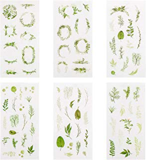 Green Plants Stickers Set, Green Leaves Foliage Planner Stickers (24 Sheets) Decorative Sticker Collection for Scrapbooking, Calendars, Arts, Kids DIY Crafts, Album, Bullet Journals
