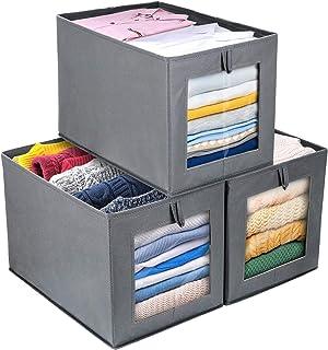 comprar comparacion DIMJ Cajas de almacenaje Plegable, Conjunto de 3 Cajas Organizadoras Tela, Cubos de Almacenamiento con Ventana Transparent...