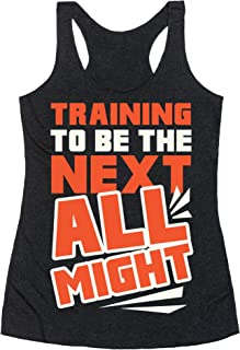 Training to Be The Next All Might Heathered Black Women's Racerback Tank