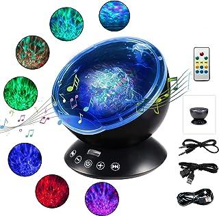 WOWDSGN Luz Nocturna Infantil, Lámpara Proyector Océano con Control Remoto Temporizador 7 Modos Romántica y 4 Sonidos Musical