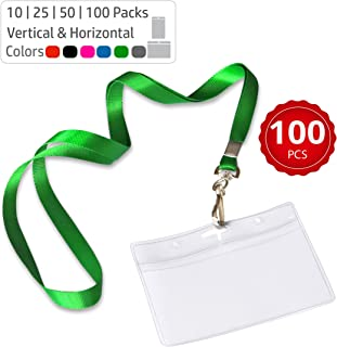 Durably Woven Lanyards & Horizontal ID Badge Holders ~ Premium Quality, Waterproof & Dustproof ~ for Moms, Teachers, Tours, Events, Businesses, Cruises & More (100 Pack, Green) by Stationery King