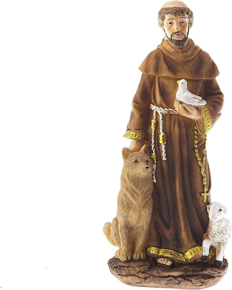 Dell`arte articoli religiosi, statua di san francesco d`assisi, in poliresina,  cm 30