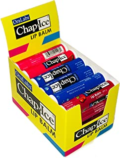 Chap-Ice | Assorted Lip Balm with Display Box - Moisture SPF-15, Cherry-SPF4, Watermelon -24 Count