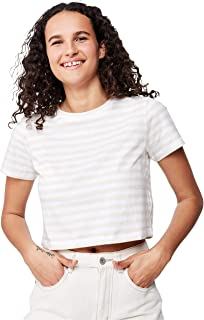 Cotton On Women's Short Sleeve One Baby Top, Cara Stripe White/Oatmeal Marle
