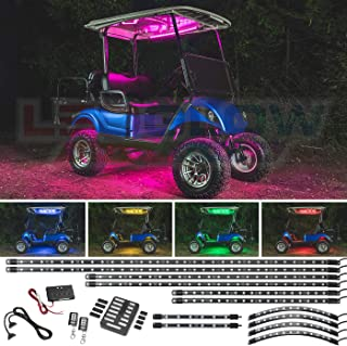 LEDGlow 12pc Million Color LED Golf Cart Underglow Accent Neon Lighting Kit with Canopy, Wheel Well & Interior Lights for EZGO Yamaha Club Car - Fits Electric & Gas Golf Carts - Water Resistant