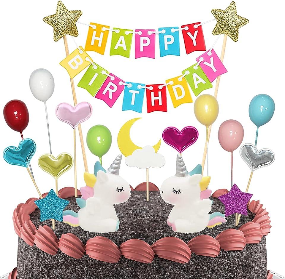 BOYATONG Tortendeko Einhorn Geburtstag Set,Kuchen Regenbogen Happy Birthday,Girlande Luftballon Kuchen Topper für Kinder Mädchen,Sterne Mond Bunt Fahne und Happy Birthday Banner