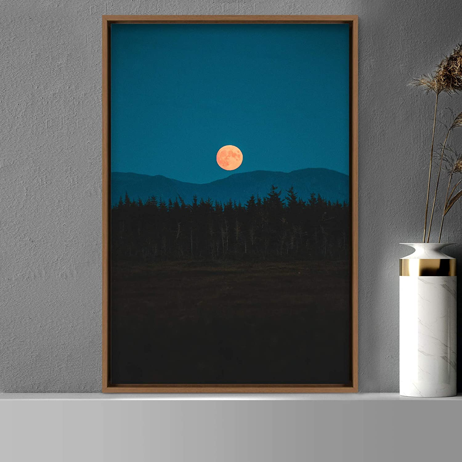 SIGNWIN Framed Canvas Wall Art Space Bedroom Moon 出群 上等 Astronomy Co