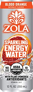 Zola Organic Sparkling Energy Water, Blood Orange, 12 Ounce (Pack of 12)