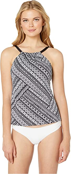cb3ab75899c9f 24th & Ocean On the Horizon Cut Out High Neck Tankini Top at Zappos.com
