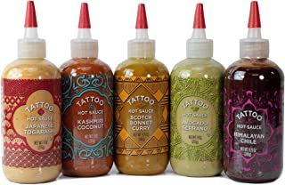 Tattoo Hot Sauces, Variety Pack of 5 Globally-Inspired and Passionately Crafted Sauces (Gift Set Sampler of 5 Flavors)