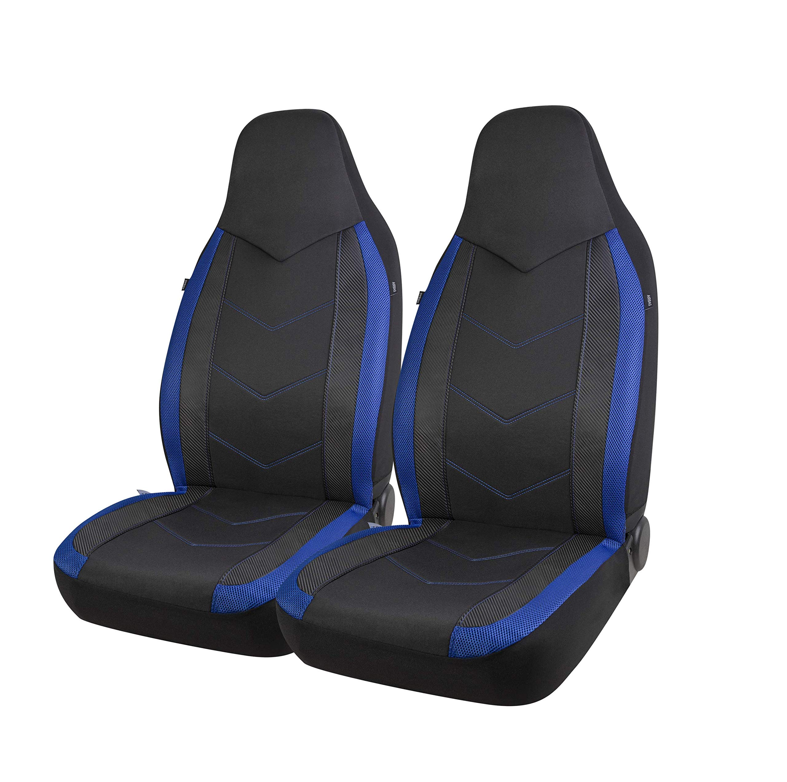 Blue Universal Fit PIC AUTO Low Back Car Seat Covers Sports Carbon Fiber Mesh Design Airbag Compatible