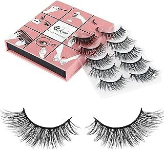 3D Fake Eyelashes Wenida 5 Pairs 100% Handmade Reusable Black Long Cross False Eyelashes
