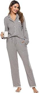 Vlazom Conjunto de Pijama Mujer Super Cómoda y Suave, Ropa de Dormir Transpirable para Dormir Tranquila -S-XXL