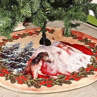 XONOR Christmas Tree Skirt - 48 Inch Christmas Tree Ornament Mat for Christmas Holiday Party Decoration (Santa Claus)